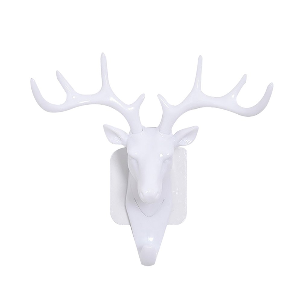 Colorido Fashion Deer Head Antlers Self Adhesive Hook Keys Hat Holder Wall Door Hanger size Medium (White) by Colorido (Image #1)