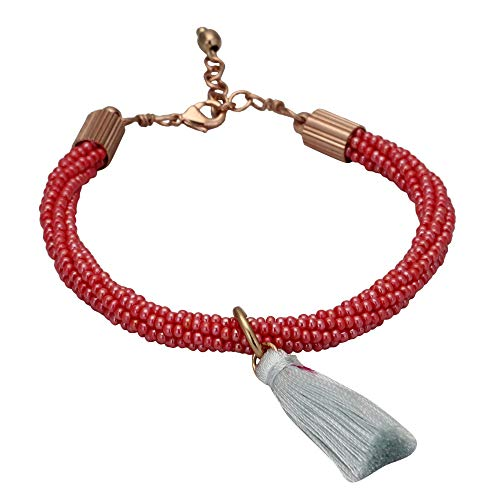 El Allure Preciosa Jablonex Glass Seed Bead Red and White Trendy Handmade Fine Crochet Bracelet with Silk Thread Fringe Drop Tassel and Rose Gold Clasp for Women.