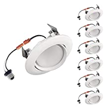 OSTWIN (6 Pack) 4 Inch LED Retrofit Gimbal Downlight, Adjustable Recessed Ceiling Light, Dimmable, Can Installation, 10W (75W Replace.), 900 Lm, 4000K (Bright Light), Energy Star, ETL Listed