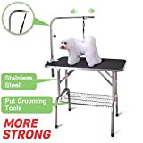 Polar Aurora Pingkay 30'' Heavy Duty Pet Professional Dog Show Foldable Grooming Table w/Adjustable Arm & Noose & Mesh Tray