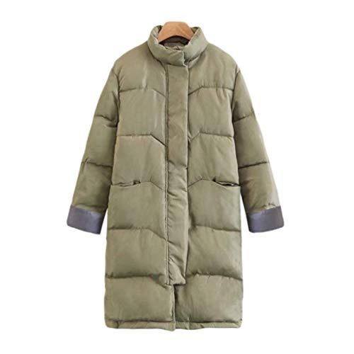 with Warm Down Trendy Sleeve Trenchcoat Zipper Windbreaker Front Laisla Girl Clásico fashion Armygreen Collar Long Pockets Solid Women's Winter Locker Stand Color Coats Jacket Tnw87qU
