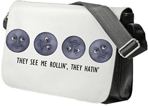 """Schultertasche """"They See Me Rollin They Hatin Mondgesichter"""" Schultasche, Sidebag, Handtasche, Sporttasche, Fitness, Rucksack, Emoji, Smiley"""