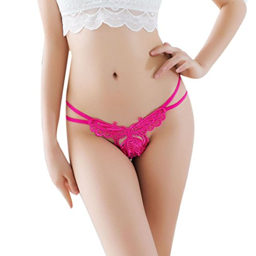 - Women's Underwear,Connia Seamless Thong Bragas Sexy Panties Thong Lace Word Pants Ladies Briefs (Hot Pink)