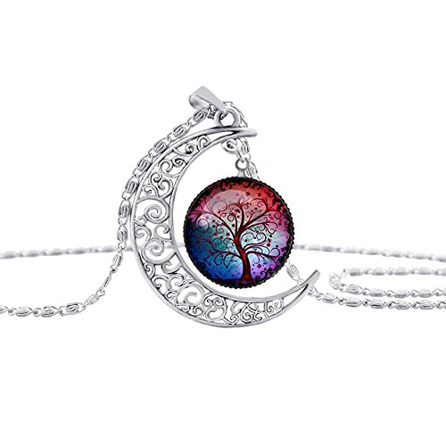 [Linsh Pendant Necklace Hollow Out Carved Moon Tree of Life Pendant Charm Chain Necklace Time Gems for Women Girls(Style] (Diy Family Costumes)