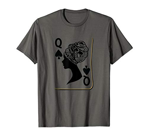 Queen Card Shirt African Woman Tshirt Poker Player Gifts T-Shirt (Best Poker Player In History)