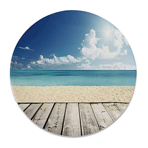 YOLIYANA Landscape Various Decorative Plate,Tropical Beach from Wooden Pier with Sky Landscape Summer View Image Decorative for Family Parties,7 inch (Plates Pier 1 Zebra)