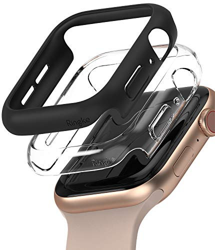 2 Fundas Apple Watch Series 4/5/6/se 40mm Negro/transparente
