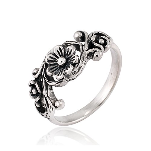 Chuvora 925 Sterling Silver Vintage Flower Swirl Vine Wreath Oxidized Detailed Band Ring - Size 9