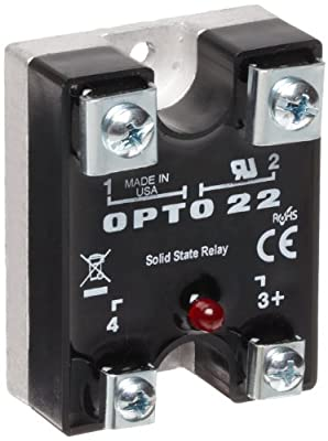 Opto 22 575Di45-12 DC Control Solid State Relay with LED Indicator, Transient Proof, 575 VAC, 45 Amp, 4000 V Optical Isolation, 1/2 Cycle Maximum Turn-On/Off Time, 25 - 65 Hz Operating Frequency