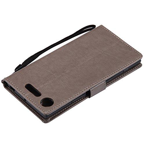 Funda Sony Xperia XZ1, SsHhUu Funda PU Piel Genuino [Ranuras para Tarjetas] [Cierre Magnetico] con Lápiz óptico + Acollador para Sony Xperia XZ1 / F8342 (5.2) Marrón Gris