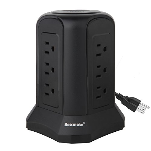 Bessmate Power Strip 12 Outlet Surge Protector with 6.5-Foot Power Cord -1000 Joules (Black) by Bessmate