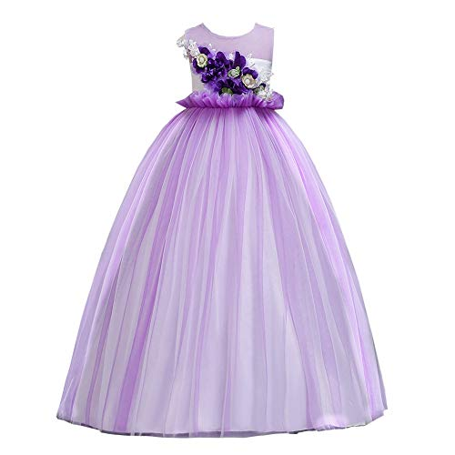 Kids Girls Halloween Princess Cosplay Costume for Children Dress Up Carnival Christmas Party Dresses for Kids(Light Purple 160cm(13-14 Years))