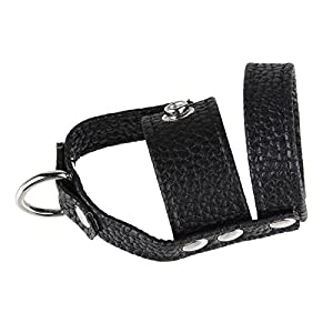 Beauty7 Adjustable PU Leather Strap Cock Ring Testicles Balls Scrotum Restraint Combo Man Male Erection Enhancing Delay Premature Ejaculation Sexual Stamina Enhancer BDSM Bondage Play Sex Toy