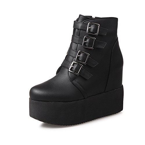 Zipper Allhqfashion Heels Closed Round Low Women's Black High Solid top Toe Boots 76ppCOnF