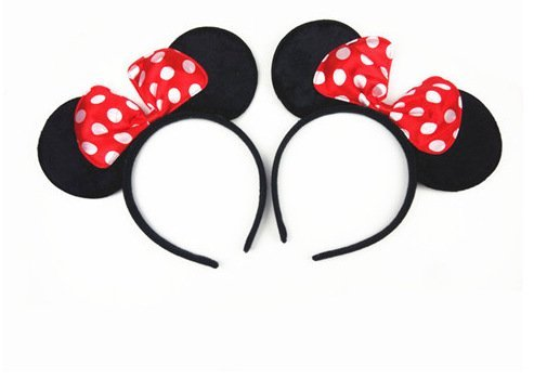 Norbis Minnie Mouse Ears Headband Children Birthday Party Supplies Girls Mom Baby Hair Accessories Party Decoration Gift Baby Shower Valentine's Day Halloween Christmas Set of 2 for $<!--$2.37-->