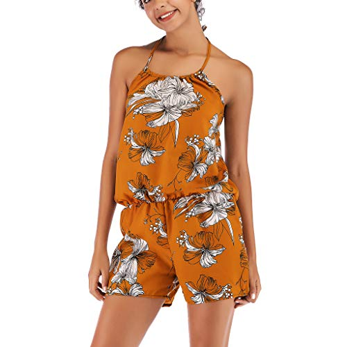 TOPUNDER Fashion Women Off The Shoulder Strappy Printed Playsuit Party Clubwear Jumpsuit ()
