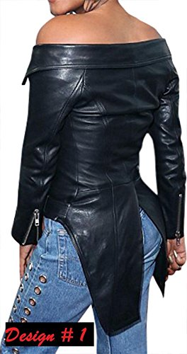 Genio Geniune Nero Di Pelle Qaulity Giacca Womes Di Di Design Slimfit Elegante E Alta Due 6d1qw6