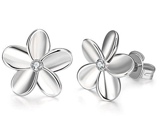 Annymall 18K Gold Plated Rose Flower Stud Earrings for Girls Womens (White) 18k White Gold Bead
