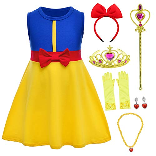 Princess Snow White Dress Costume for Little Infant Toddler Girls with Headband,Crown,Mace,Gloves,Necklace,Earrings 18-24 Months