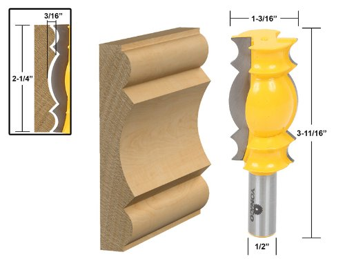 Yonico 16146 Large Crown Molding Router Bit 1/2-Inch Shank