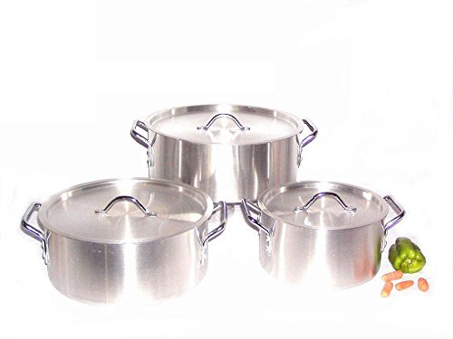 Uniware Heavy Gauge Aluminum Sauce Pot Set (6 Pcs Set (7 10 14 qt))