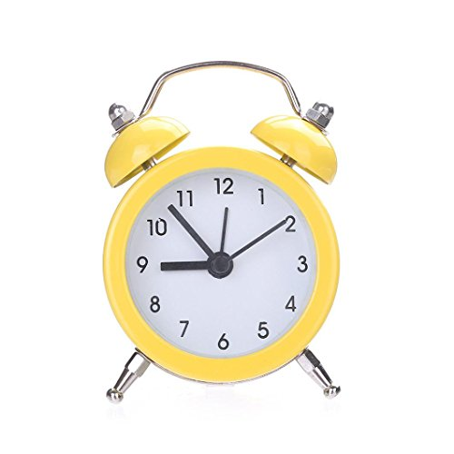 CieKen Twin Bell Alarm Clock No Ticking Analog Quartz Alarm,Battery Operated with Nightlight and Snooze Function for Bedroom (Yellow) ()