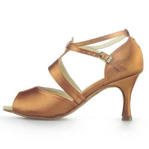Monie Tango de femmes danse latin Ballroom brun pouces Talons Chaussures Salsa 3 pour évasés r0x5arF