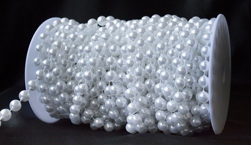 Saitec ® 33ft 8mm Large Pearls Faux Crystal Beads by the Roll (Ivory Leaf Chandelier)