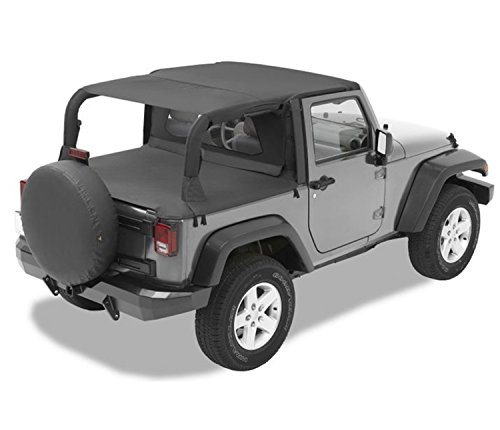 Bestop 52585-35 Header-style Safari Bikini Black Diamond Top for 2007-2009 Wrangler JK 2-Door (Safari Bestop Bikini Top Header)