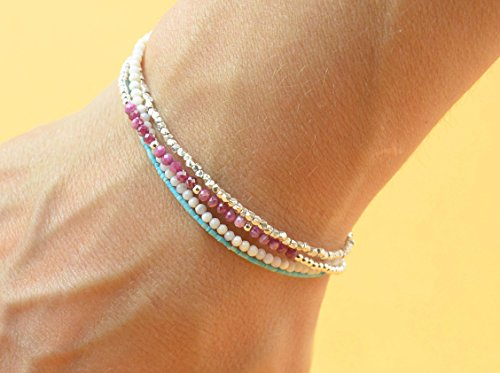 Multi strands gemstones and sterling silver beads bracelet.Bracelet set.Dainty bracelet.Wrap bracelet.Ruby opal and turquoise