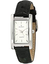 Peugeot Womens Rectangle Silver-Tone Black Leather Strap Dress Watch 3008SBK