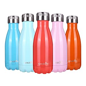 """anature"" Stainless Steel insulated Water Bottle,Double Wall Vacuum Insulation,Cola Shaped forKids,Ladies,Business Convenience,Small Size,9oz,Peach Red"