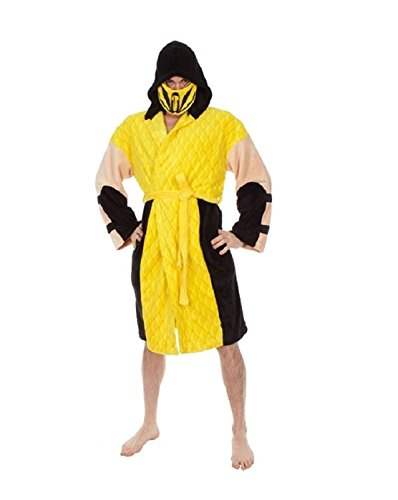 Mortal Kombat Men's Scorpion Hooded Plush Robe, Yellow, One (Scorpion Sub Zero Costumes)