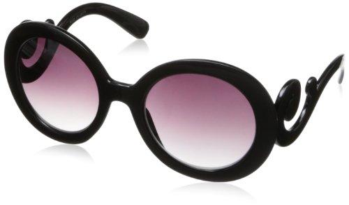 MLC Eyewear Women's Floral Swirl Frame Sunglasses Round Sunglasses,Black,52 - Sunglasses Swirl Arm