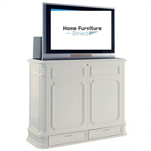 Crystal Pointe White XL End of Bed TV Lift Console