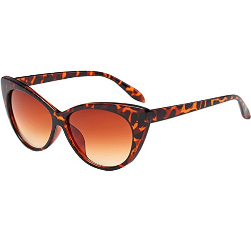 Aisa Women Vintage Cat Eye Frame Retro Sunglasses 400 UV Protection Beach Sun Glasses Eyewear with Zipper Case Leopard - Sunglasses Leopard Eye Cat Print