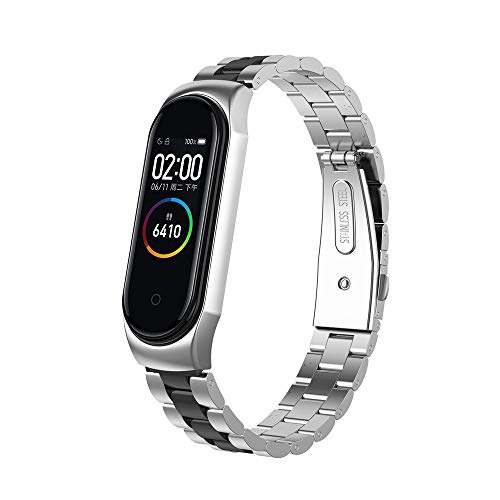 Sodoop Watch Bands for Xiaomi Mi Band 4, 210mm-250m,Luxury Fashion Colorful Solid Stainless Steel Bracelet Replacement Wristband Strap for Xiaomi Mi Band 4 Smart Fitness ()