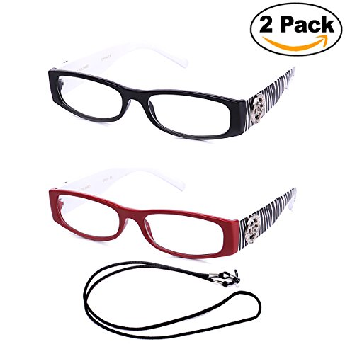 Newbee Fashion Women Fashion Reading Glasses with Zebra Print (2 Pack Black & Red with Lanyard)