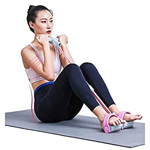Sit-Ups Elastic Rope Portable Home Gym Sit-ups Device with Elastic Bodybuilding Fitness Slimming Training Exercise Bands (Color:Blue,Pink) QDDSP (Color : Pink)