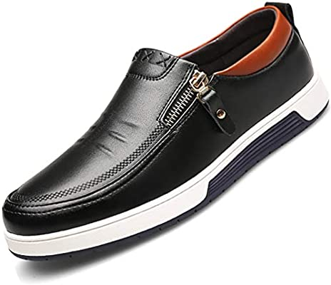 Men/'s Loafers Flats Side Zip Slip On Leather Dress Casual Comfort Driving Shoes