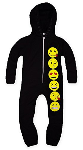 Girls Full Length Zip Front Emoji Onesie Black 9-10 Years