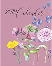 2019 Calendar: Watercolour Flowers with Inspirational Quotes on Textured Purple Background