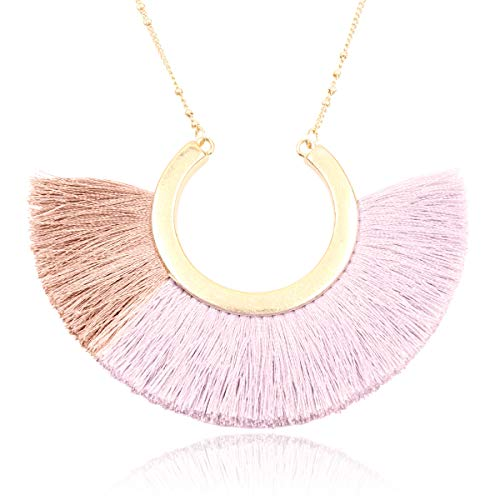 RIAH FASHION Bohemian Fringe Tassel Pendant Statement Necklace - Silky Strand Semi Circle Fan Charm, Teardrop Thread, Freshwater Pearl Charm Long Chain (Two Tone Tassel - Pink) ()