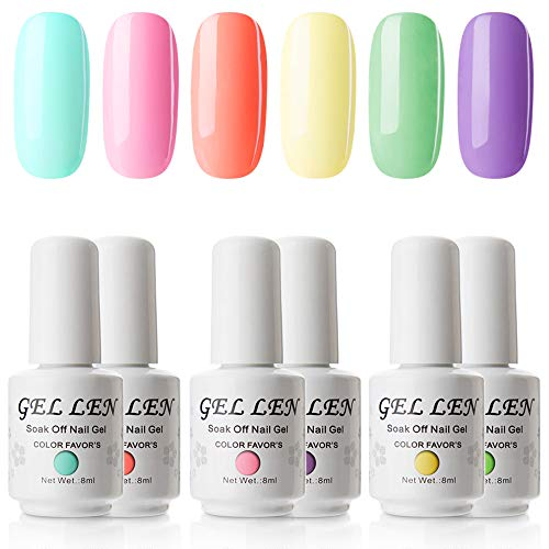 (Gellen Gel Nail Polish Set Sweet Candy Series Neon 6 Colors - Summer Nail Art Gel Kit 8ml)
