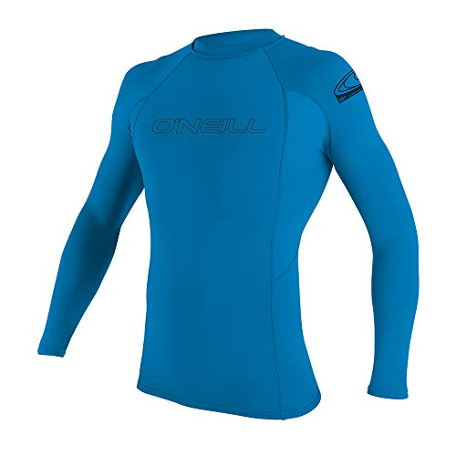 O'Neill Youth Basic Skins UPF 50+ Long Sleeve Rash Guard, Bright Blue, -