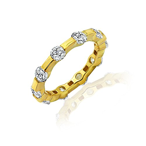 Tension Set Yellow Ring (DIAMONBLISS 18K Yellow Gold Cubic Zirconia 100 Facet Tension Set Band Ring- Yellow , Size 10)