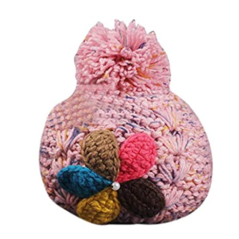 Image Unavailable. Image not available for. Color  Blue Stones Fashionable  Women Lady Warm Knitted Beret Flower Cap Earmuffs Hat Wool Flower Pompom ... 062e4bfe6c17