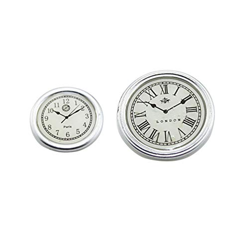 (Floralby 2Pcs Dollhouse Accessories Miniature Round Wall Clock Model Kids Collection Toy)