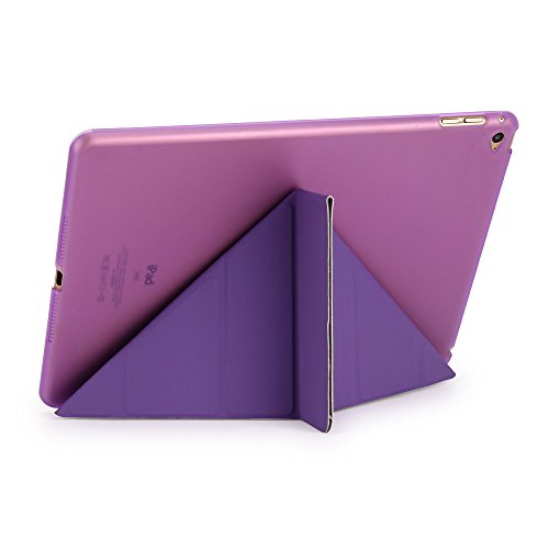 iPad Air 2 Case, Dowswin Multi Folded Protective PU Leather Front Case with Sleep Wake Up Function and Transparent Hard Back Cover for Apple 6th Gen (Purple) Photo #7