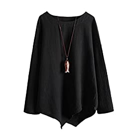 Minibee Women's Asymmetric Linen Tops Long Sleeve Tunics Blouse Shirts